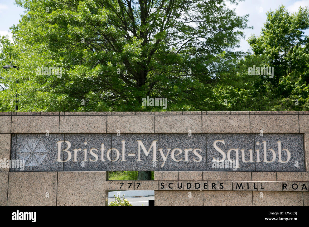 A logo sign outside of a facility occupied by the Bristol-Myers Squibb Company in Princeton, New Jersey. - Stock Image