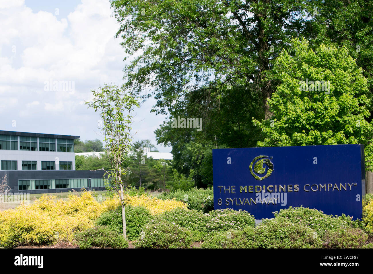 A logo sign outside of the headquarters of The Medicines Company in Parsippany, New Jersey. - Stock Image