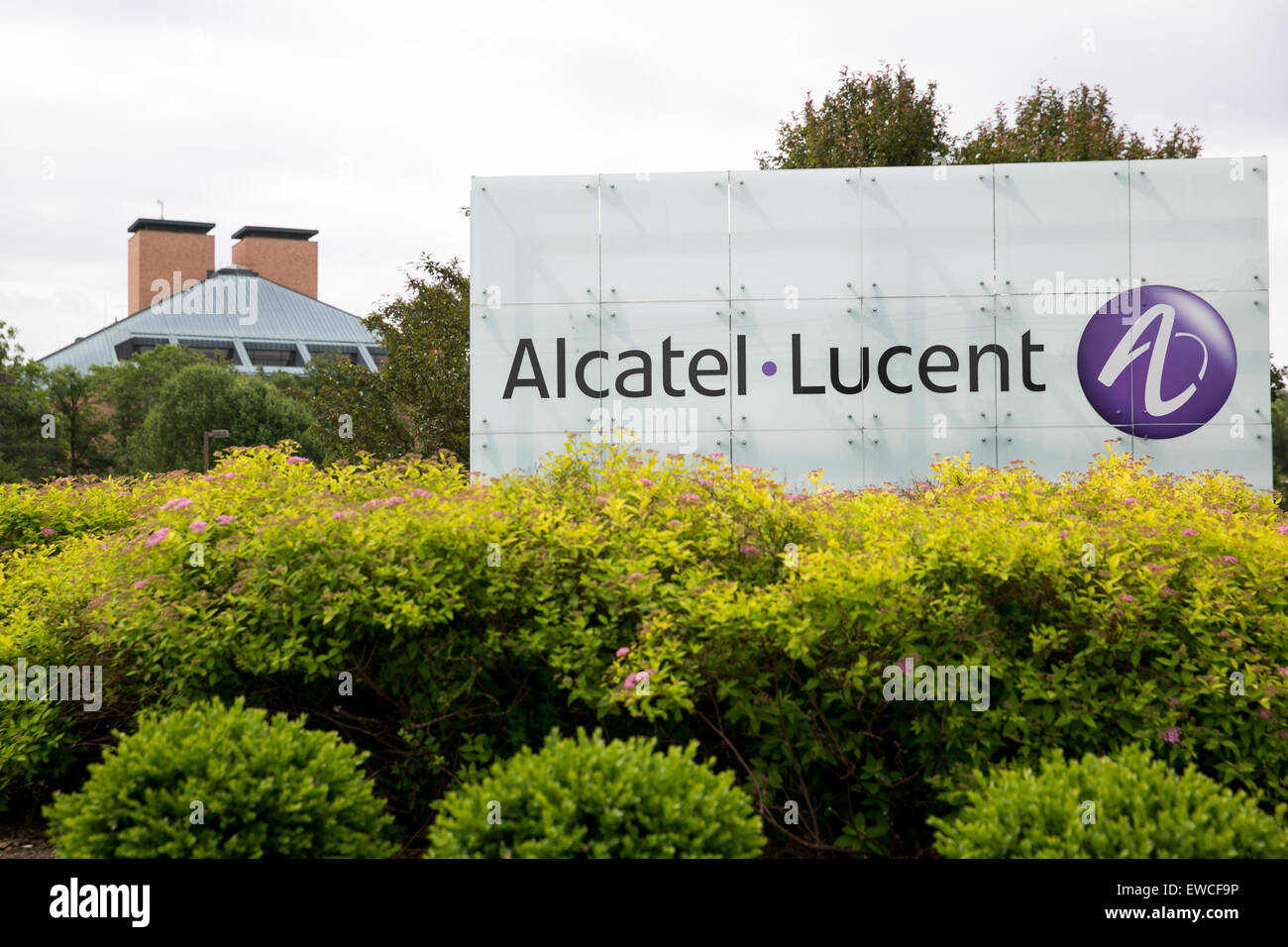 A logo sign outside of the headquarters of Bell Labs, a subsidiary of Alcatel-Lucent, in Murray Hill, New Jersey. - Stock Image