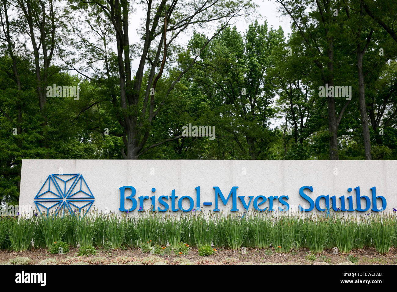 A logo sign outside of a facility occupied by Bristol-Myers Squibb in New Brunswick, New Jersey. - Stock Image