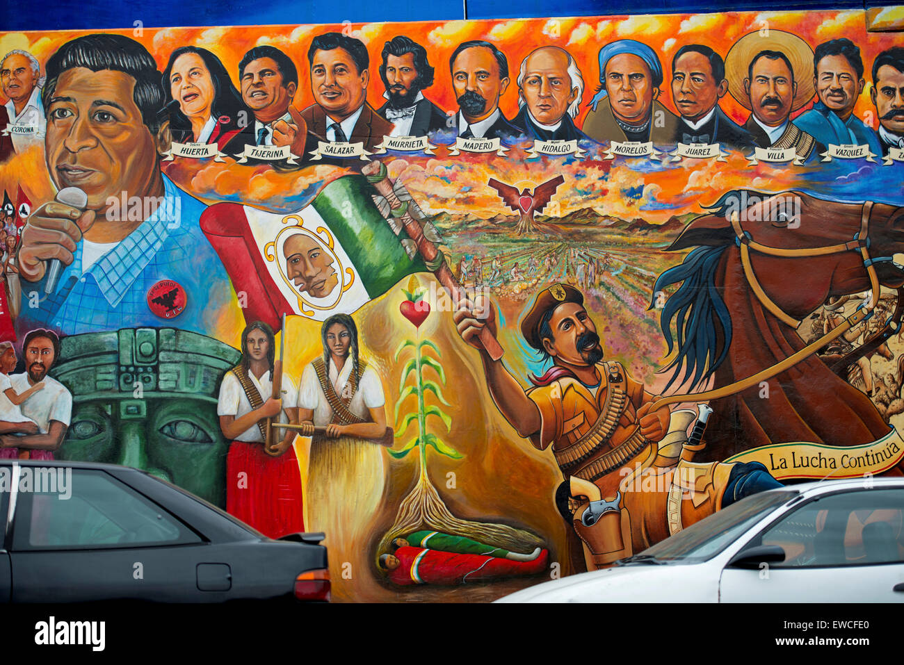 The Mural Toltecas En Aztlan At Chicano Park Barrio Logan Under The Stock Photo Alamy