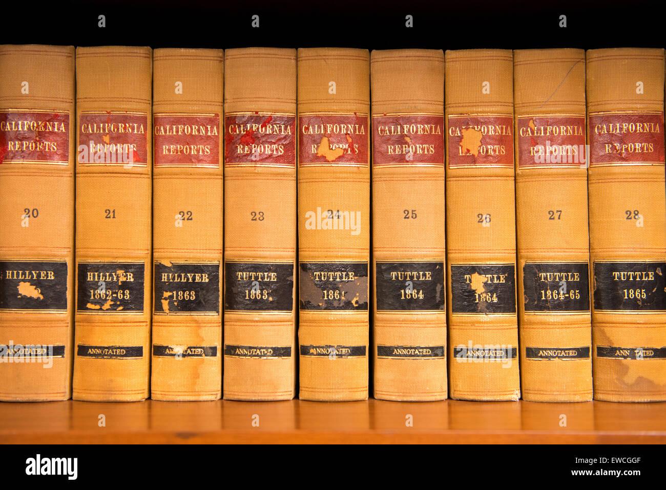 antique california law books on shelf san diego california stock