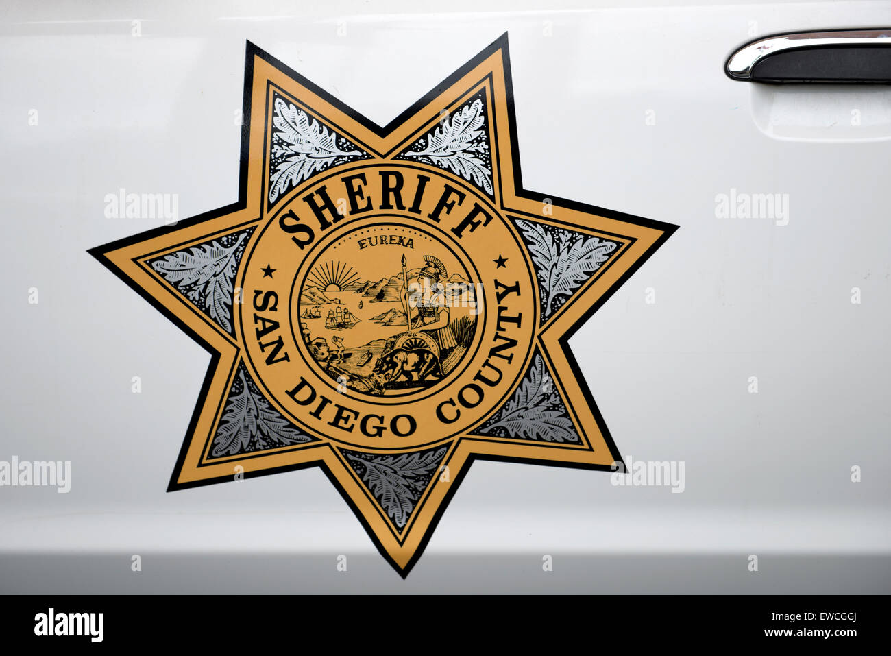 San Diego County Sheriff logo on patrol car door, San Diego, California Stock Photo
