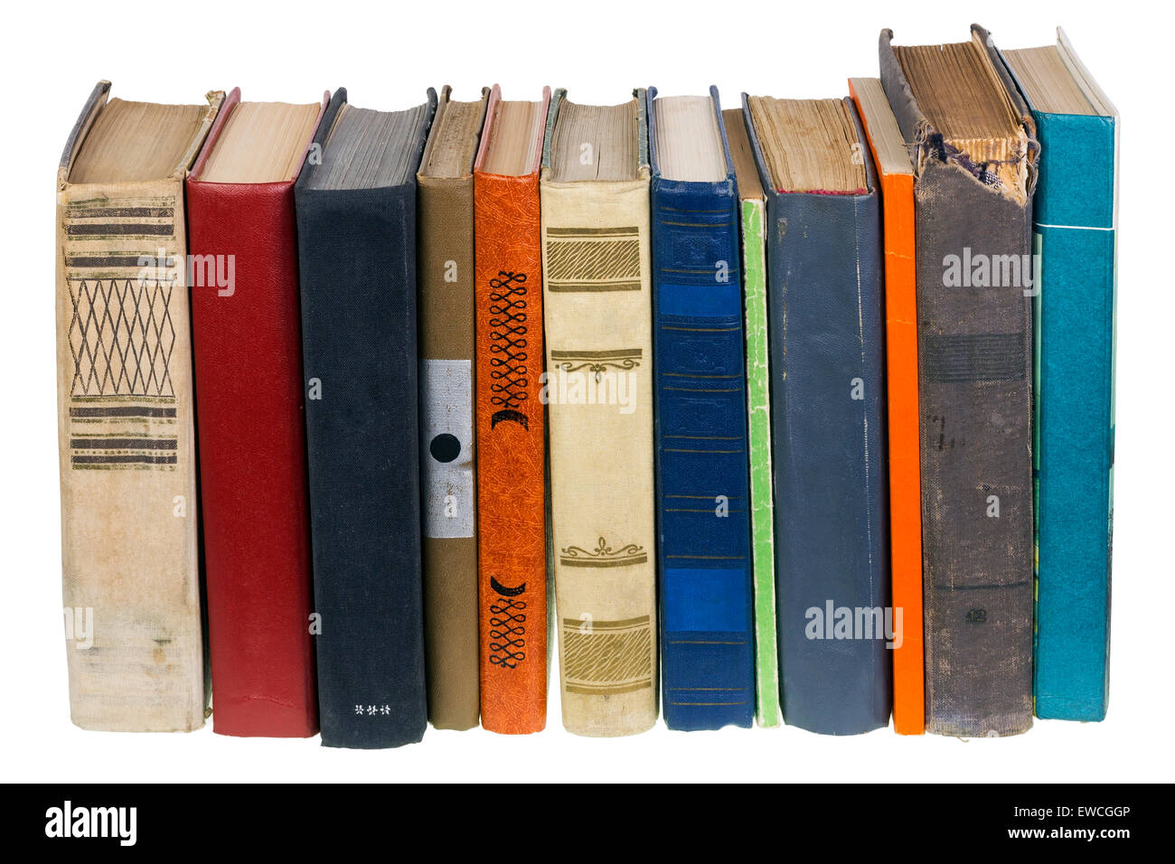 The ancient old decrepit forgotten books concept. Isolated on white - Stock Image