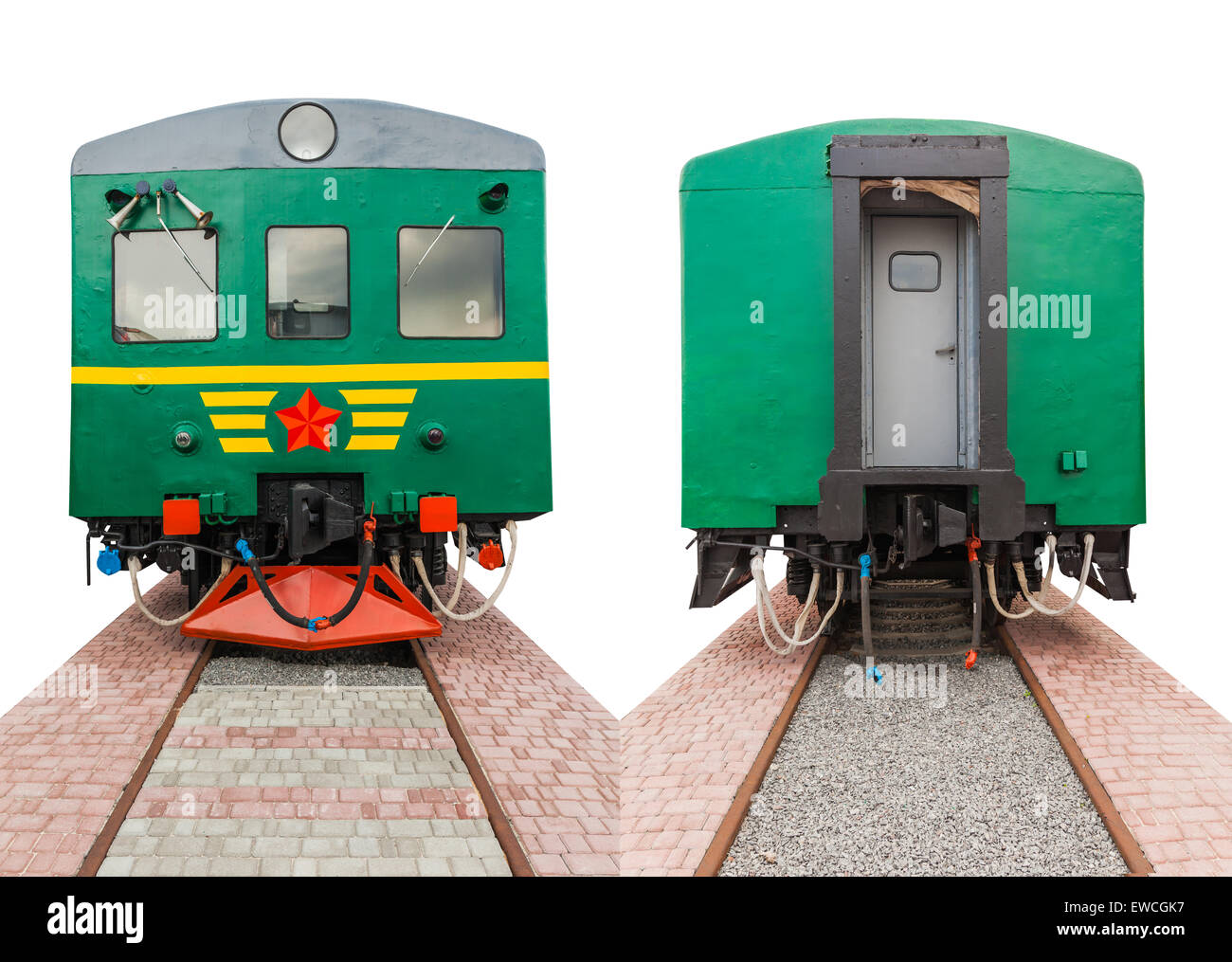 Vintage Train On A White Background Front And Rear