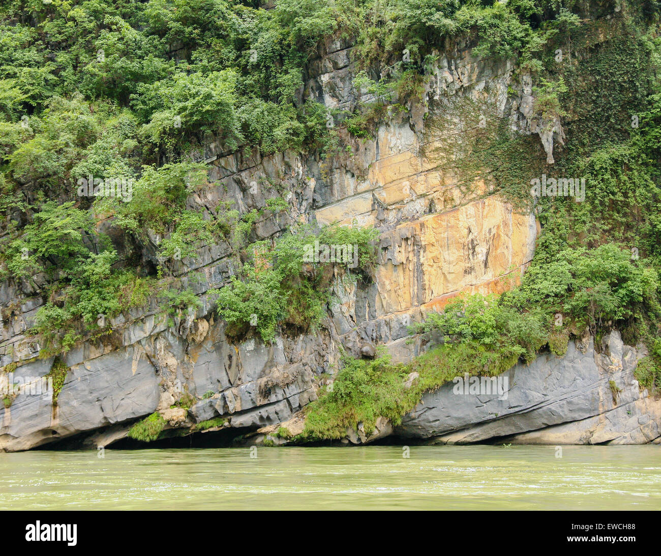 Limestone rock and vegetation over river - Stock Image