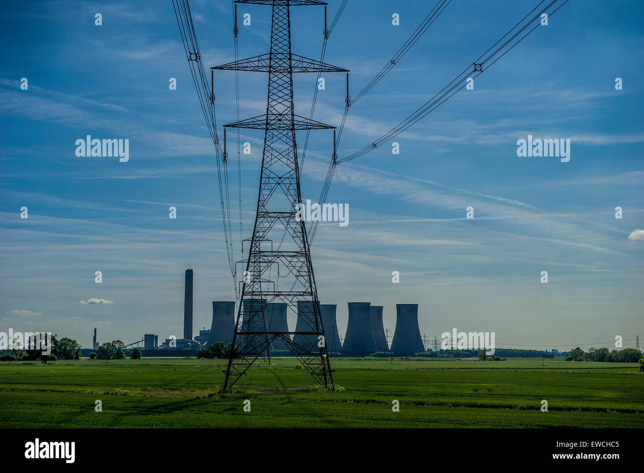 Eggborough Power station on a summer day - Stock Image