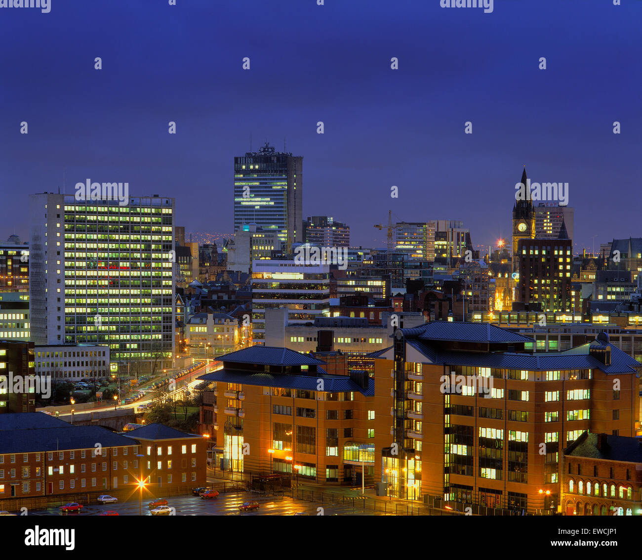 Skyline of Manchester town centre, Greater Manchester, England. Wider view can be seen on image ref: B8G2YE Stock Photo