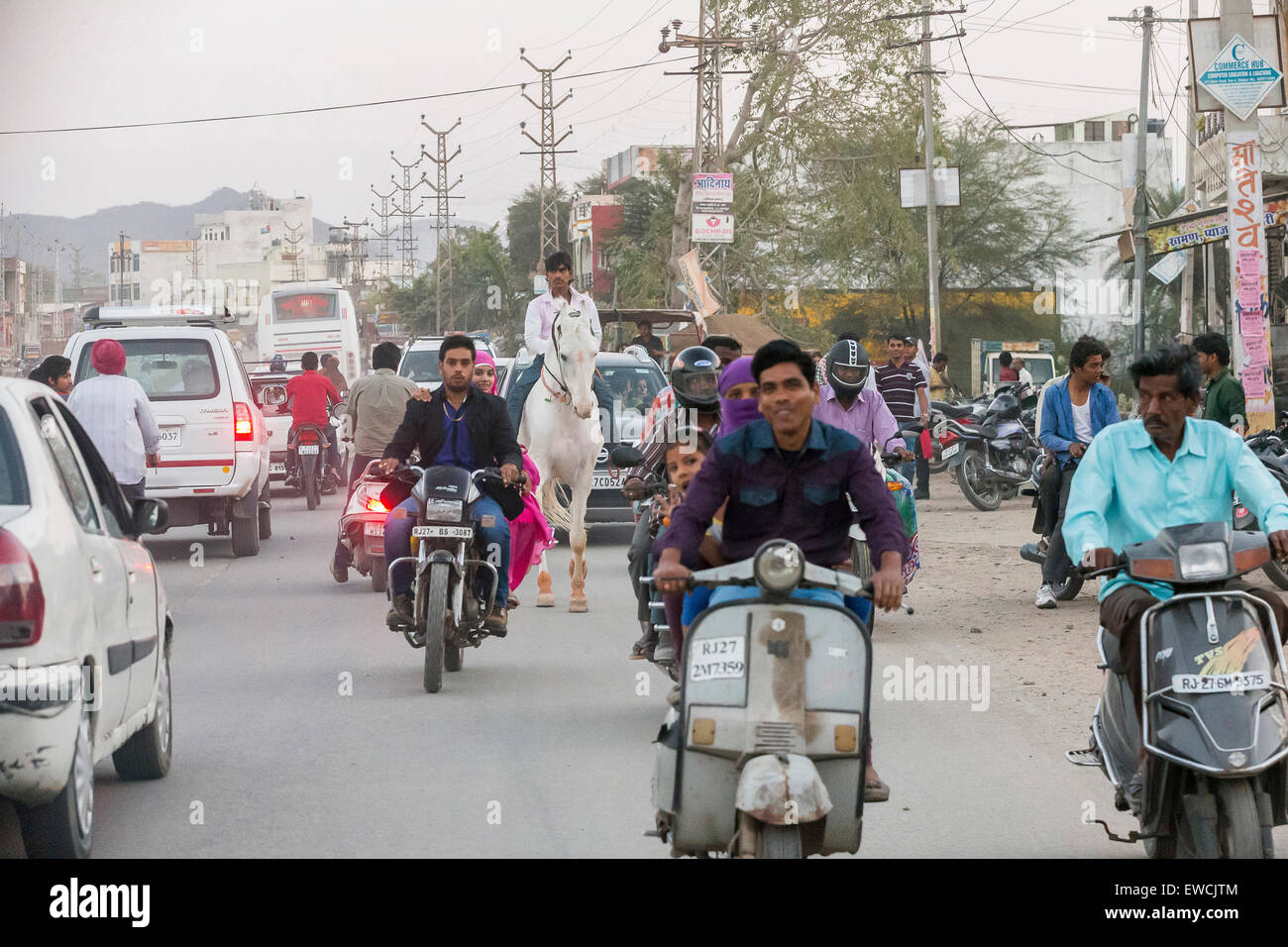 Street scene at Udaipur, Rajasthan, India - Stock Image