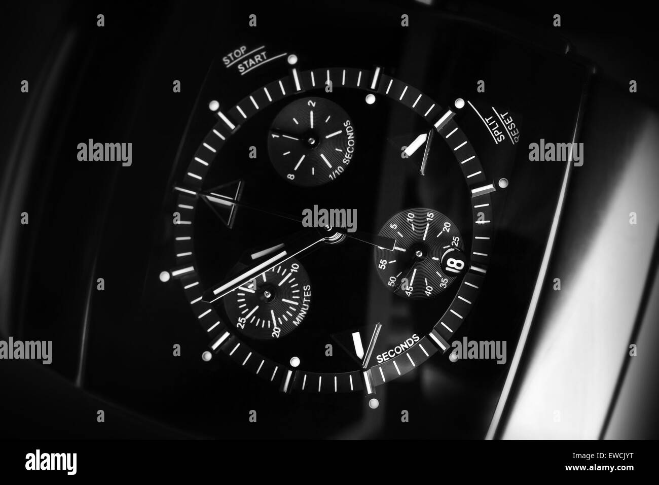 Luxury mens Chronograph Watch made of high-tech ceramics with sapphire glass. Close-up black and white studio photo - Stock Image