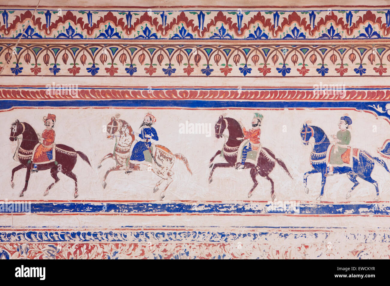 Rajput riders on horseback. Fresco in a private mansion (Haveli), Nawalgarh, Rajasthan, Indien Stock Photo