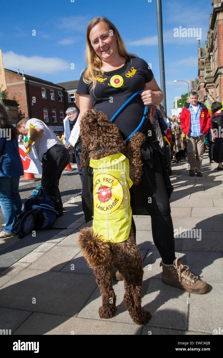 Preston, Lancashire, UK. 23rd June, 2015. Laura Colne & her dog Archie, (Cockerpoo breed) at the Demo protest - Stock Image