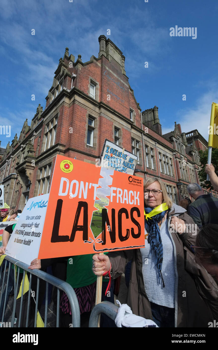 Preston, UK. 23rd June, 2015. Anti-Fracking demonstrators from across the UK gather in Preston the headquarters - Stock Image