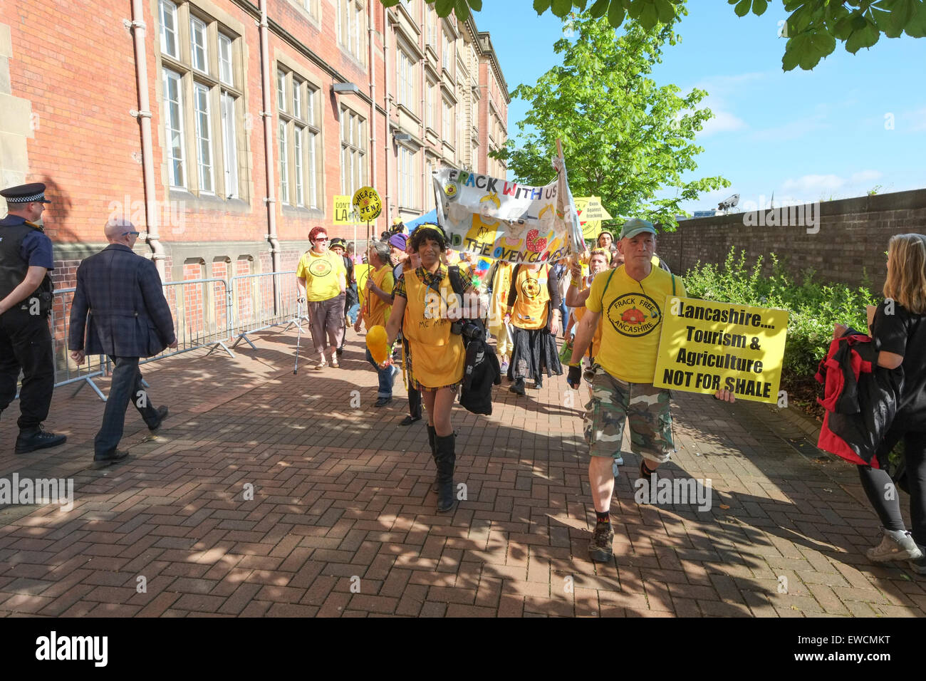 Anti-fracking demonstrators outside Lancashire County Council headquarters in Preston, UK. - Stock Image