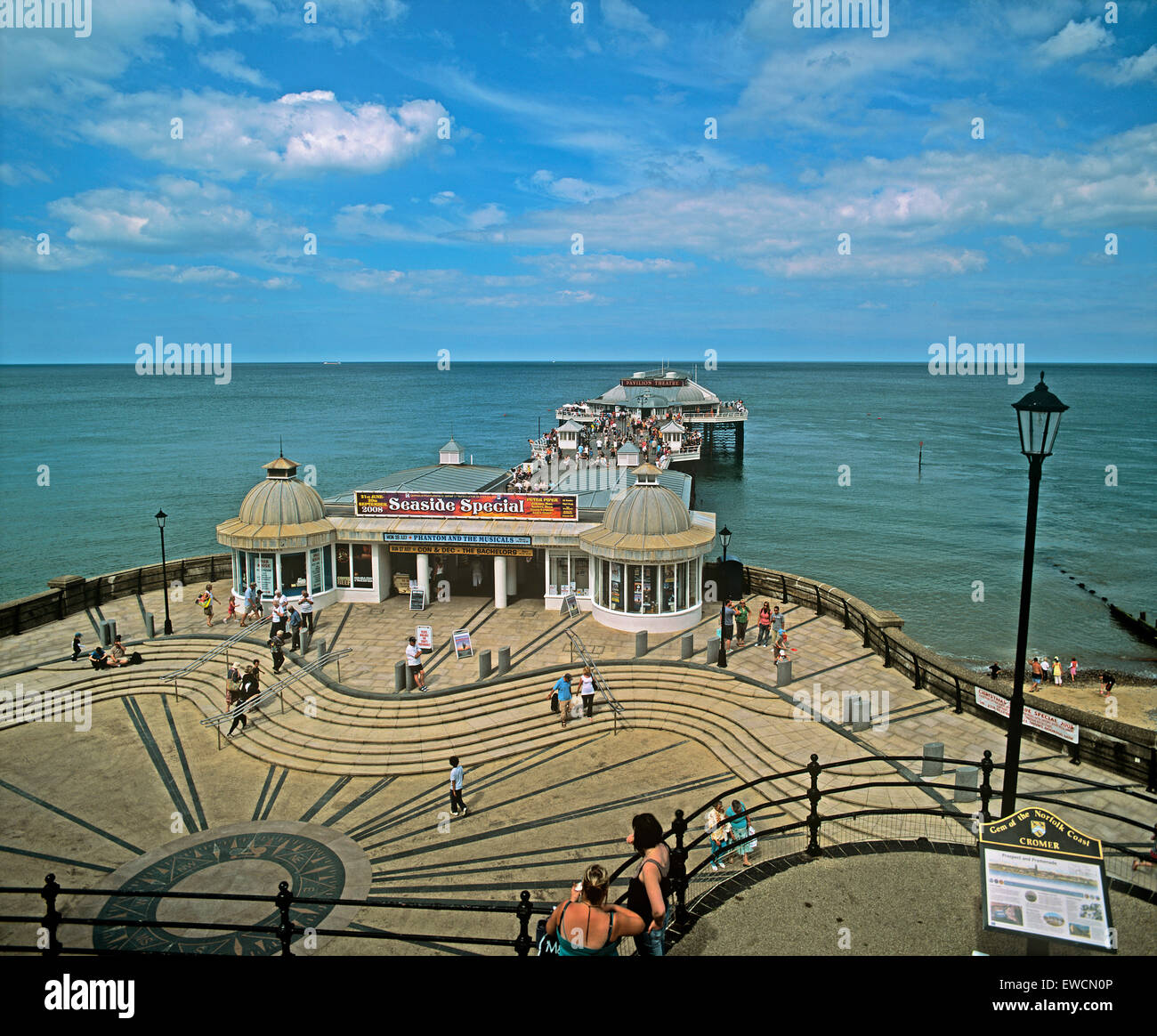 Cromer Pier on a hot calm summer day North Norfolk coast - Stock Image