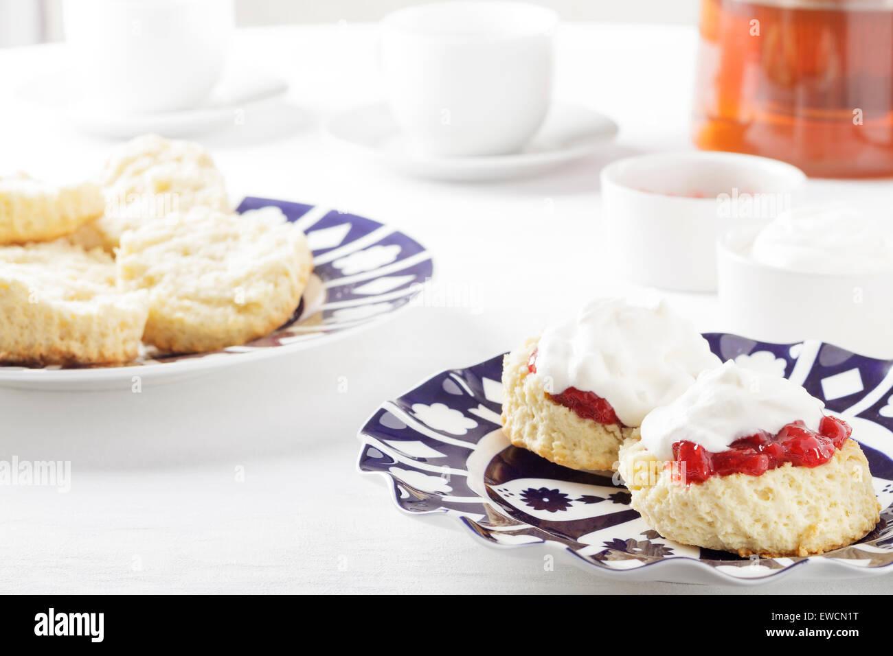 Scones with jam and cream - Stock Image