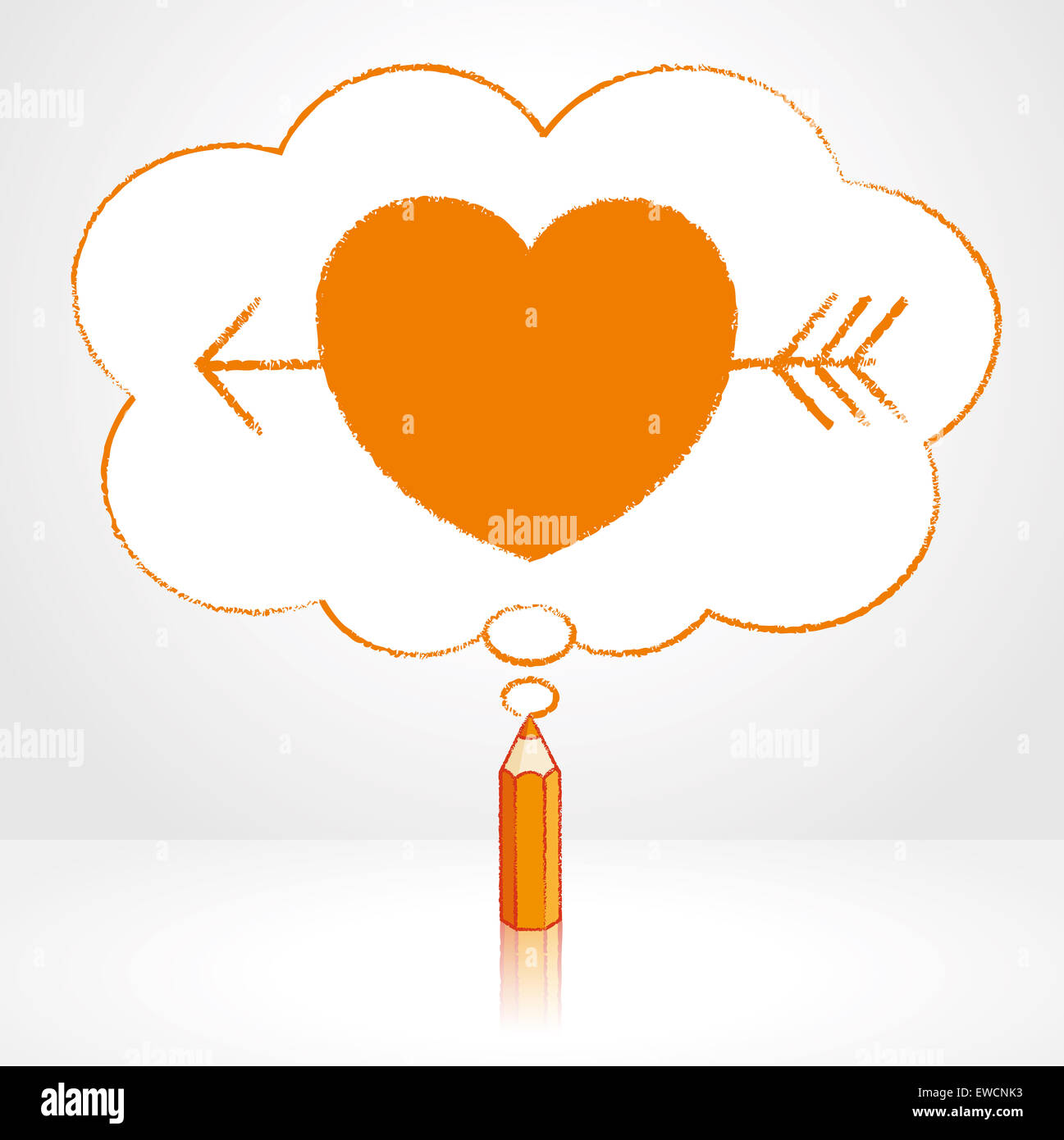 orange pencil with reflection drawing cupid s arrow through heart
