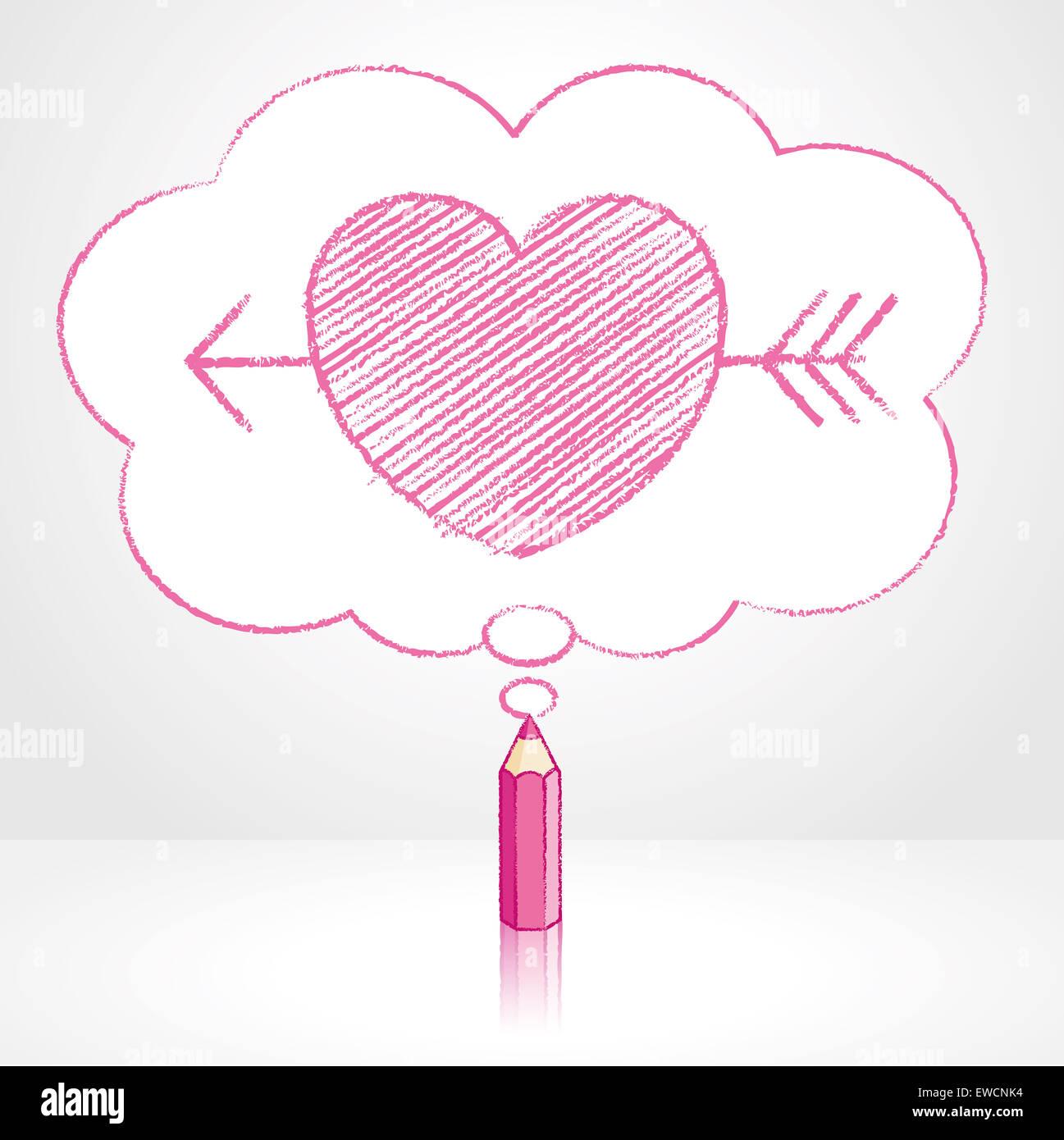 drawing heart arrow through in stock photos drawing heart arrow