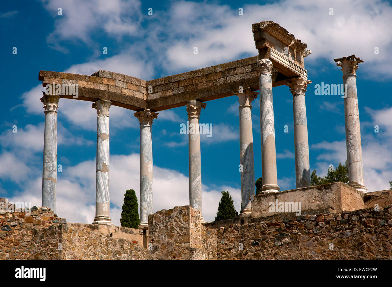 Roman theater- detail columns, Merida, Badajoz province, Region of Extremadura, Spain, Europe - Stock Image