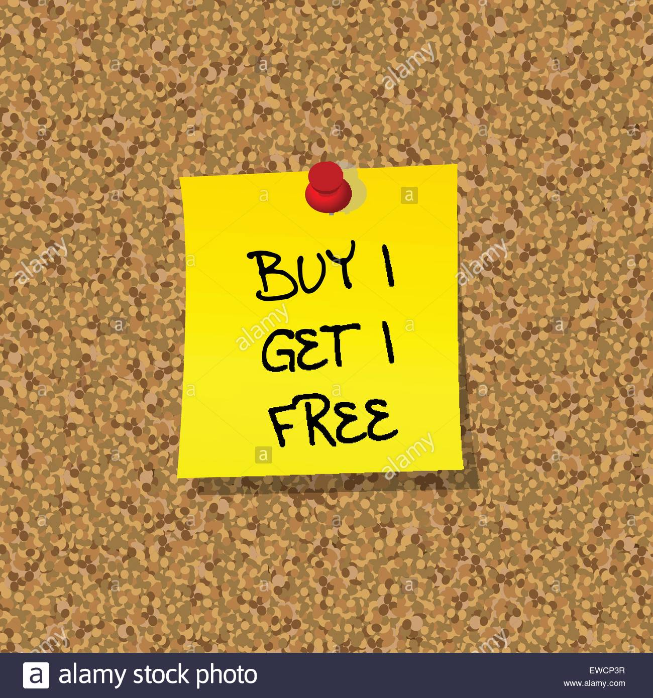 Yellow stick note paper with words BUY 1 GET 1 FREE pinned on cork
