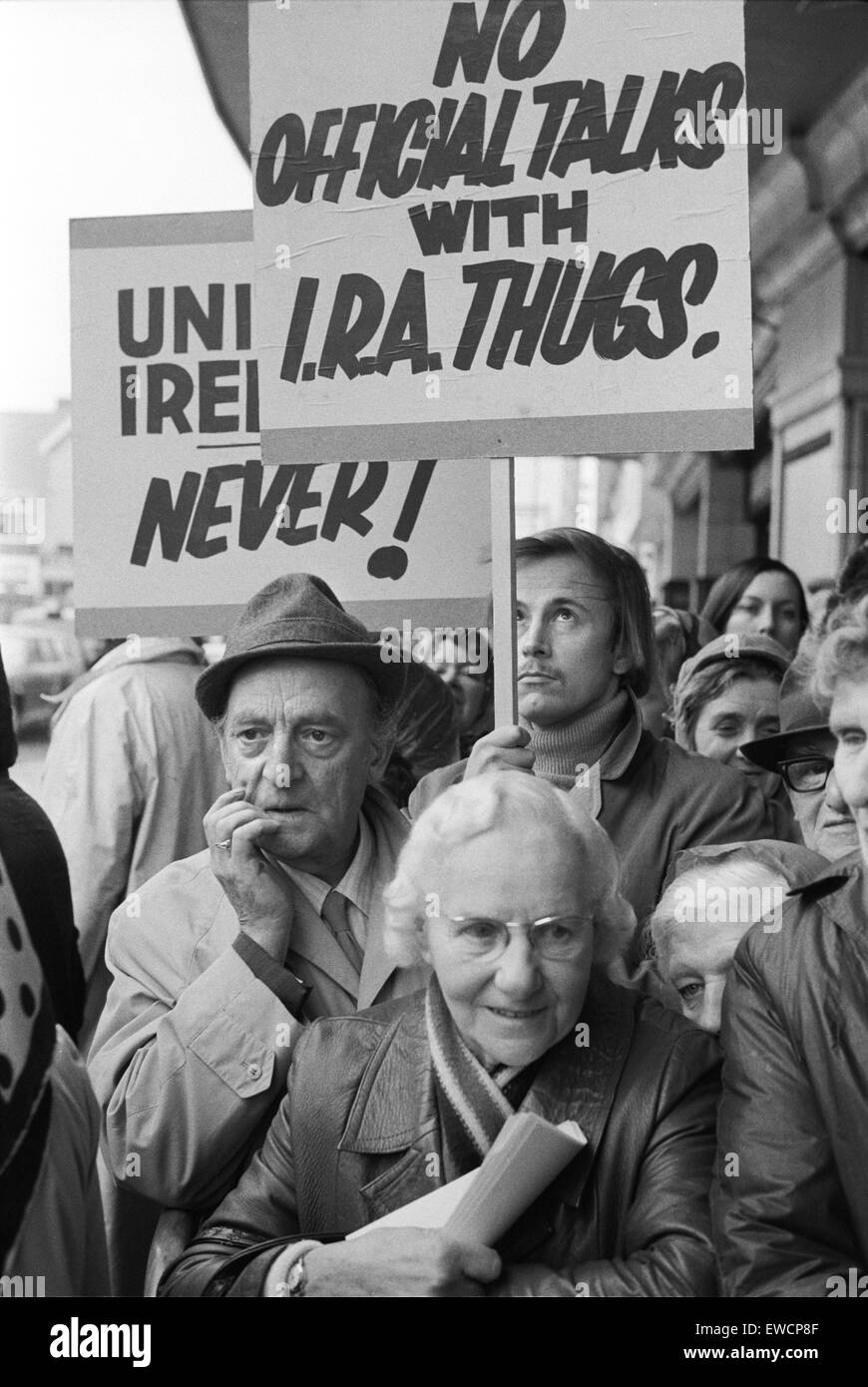 Conservative Party Conference Liverpool Lancashire 1973. Demonstration outside conference, No Official Talks with - Stock Image