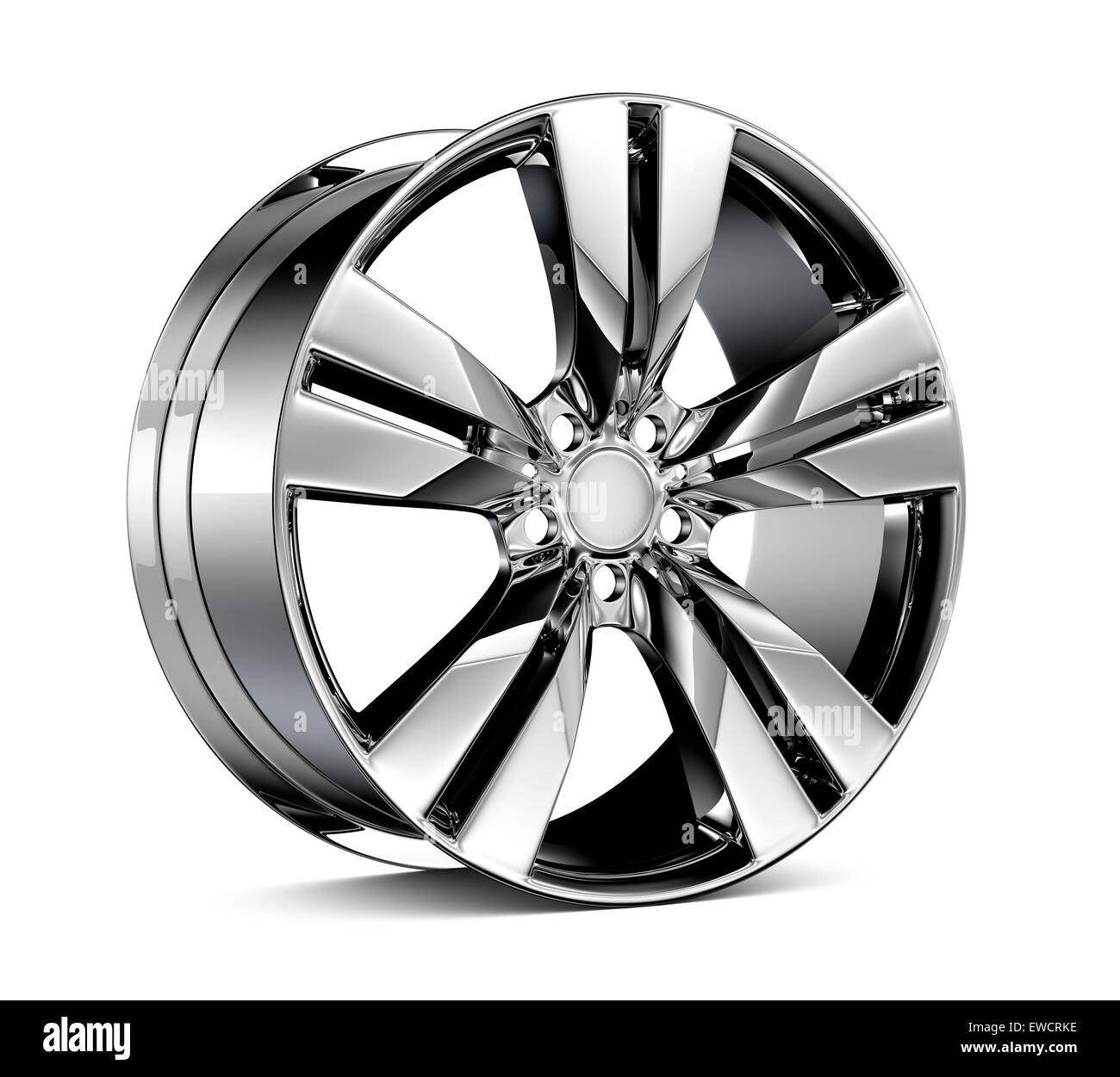 Alloy Wheel Rim isolated on white - Stock Image