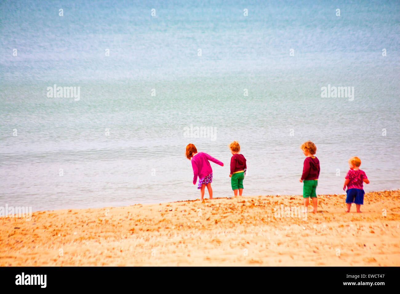 Painterly effect of children at the seaside - Stock Image