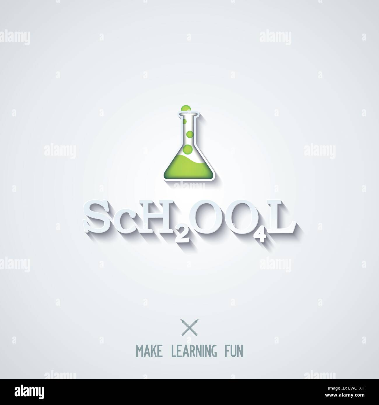 School - conceptual design lettering as the chemical formula. Vector eps 10 - Stock Vector