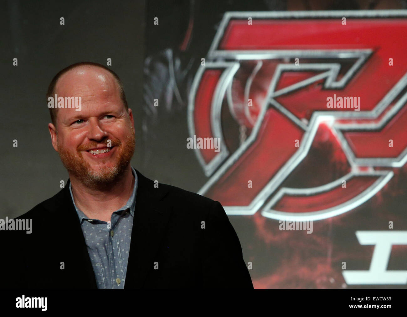 """Tokyo, Japan. 23rd June, 2015. Film director Joss Whedon attends a premiere event for his new film """"Avengers: Age Stock Photo"""
