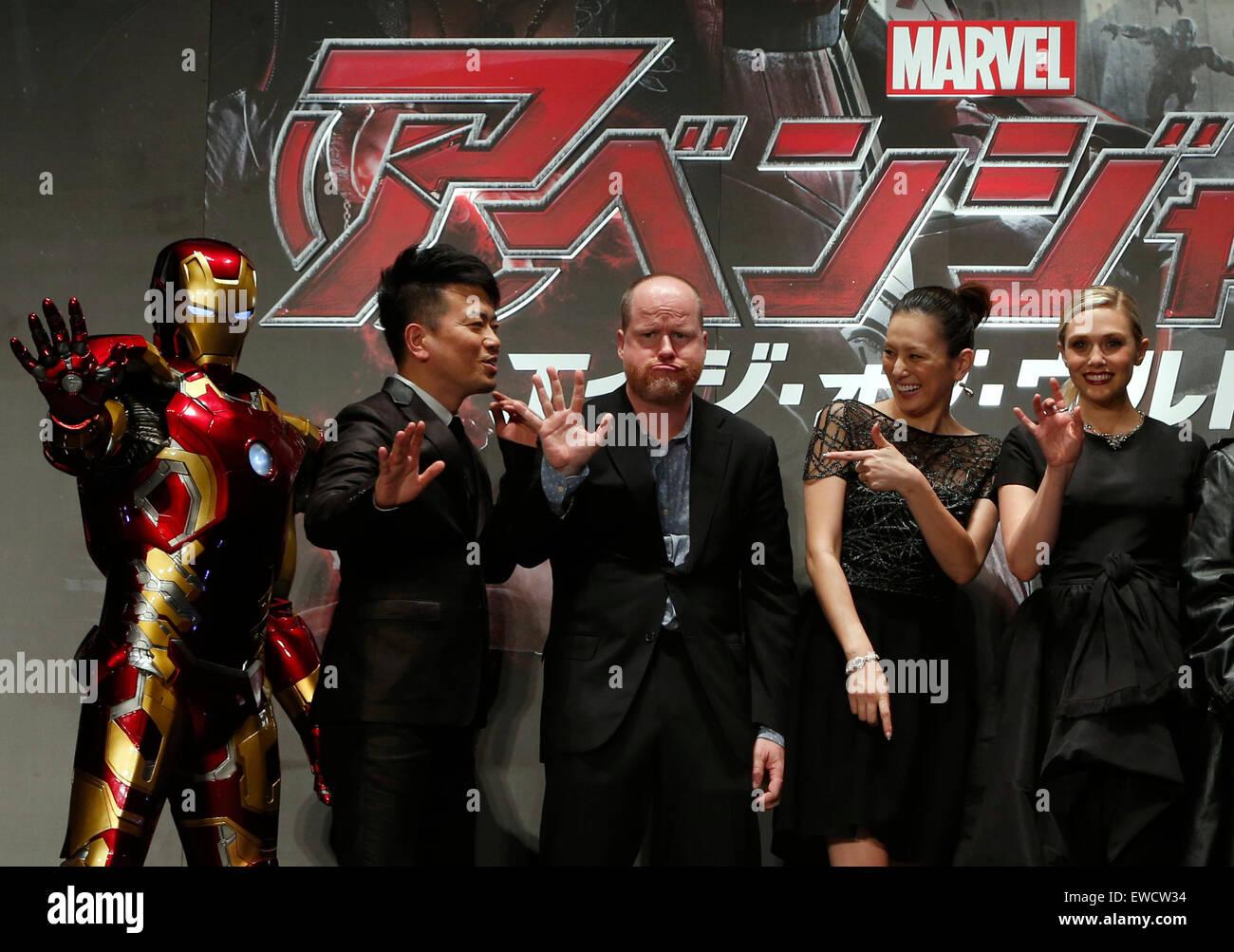Tokyo, Japan. 23rd June, 2015. (L to R) Iron Man, Japanese comedian Hiroyuki Miyasako, film director Joss Whedon, - Stock Image