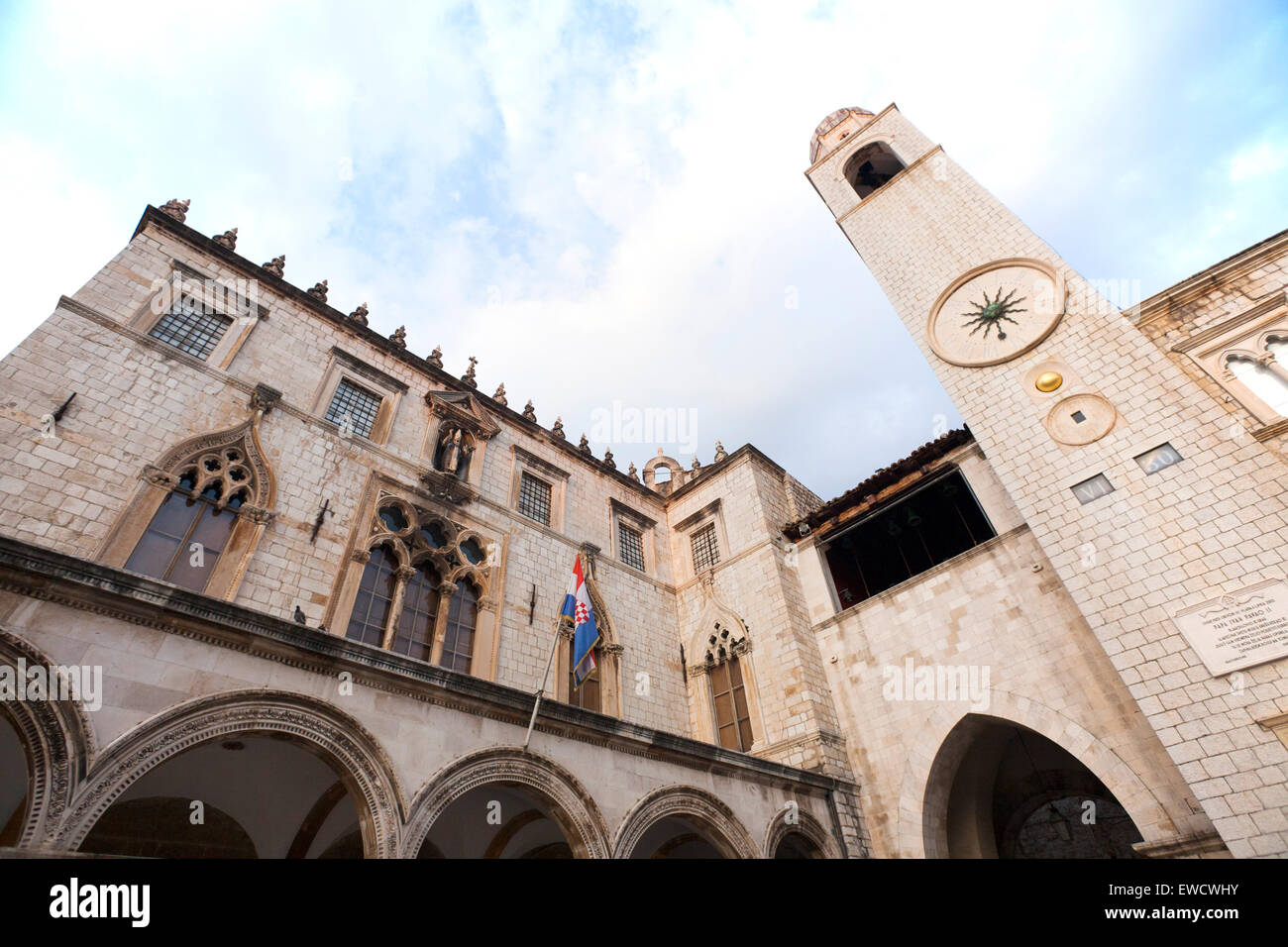 Cathedral in Walled city of Dubrovnic in Croatia Stock Photo