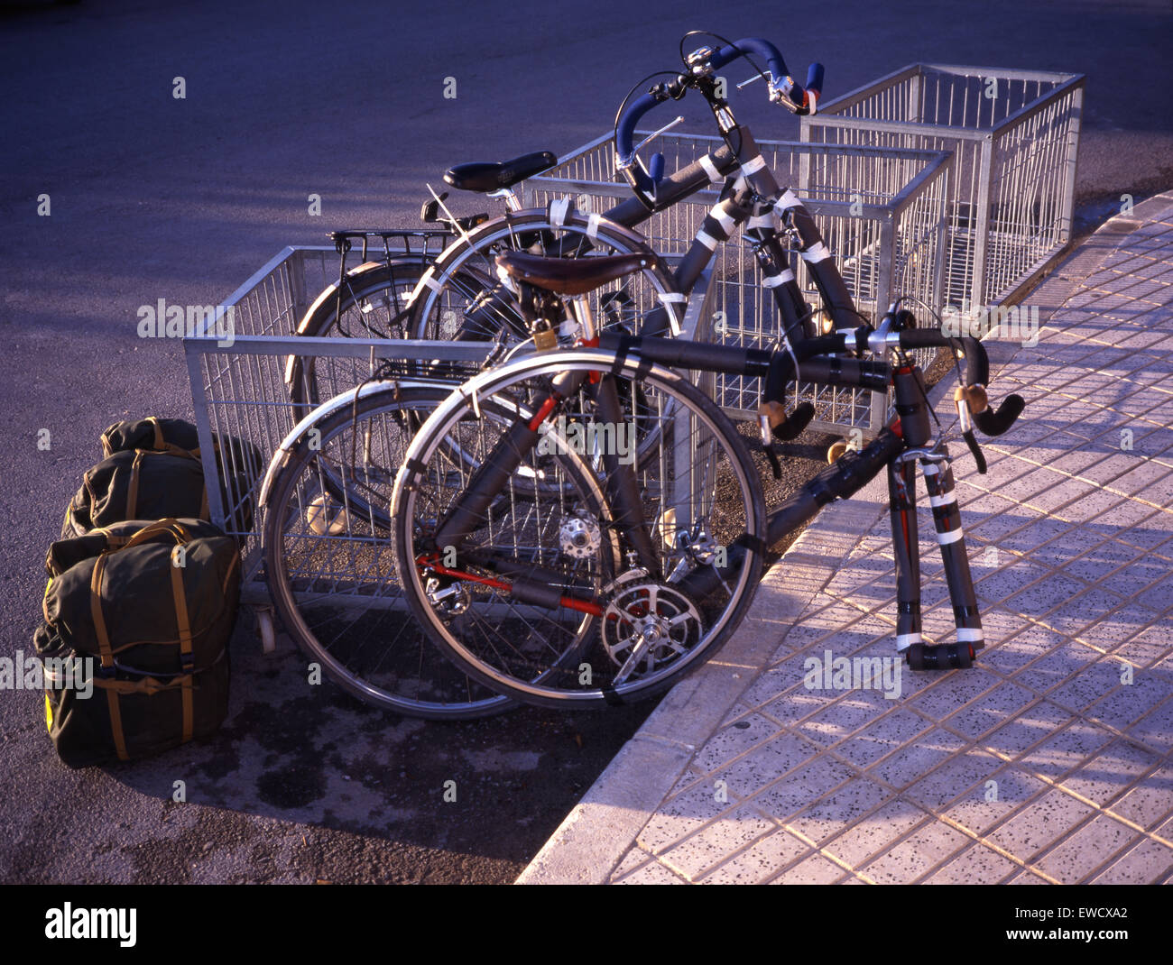 Partly dismantled cycles, prepared for flight as hold baggage. - Stock Image