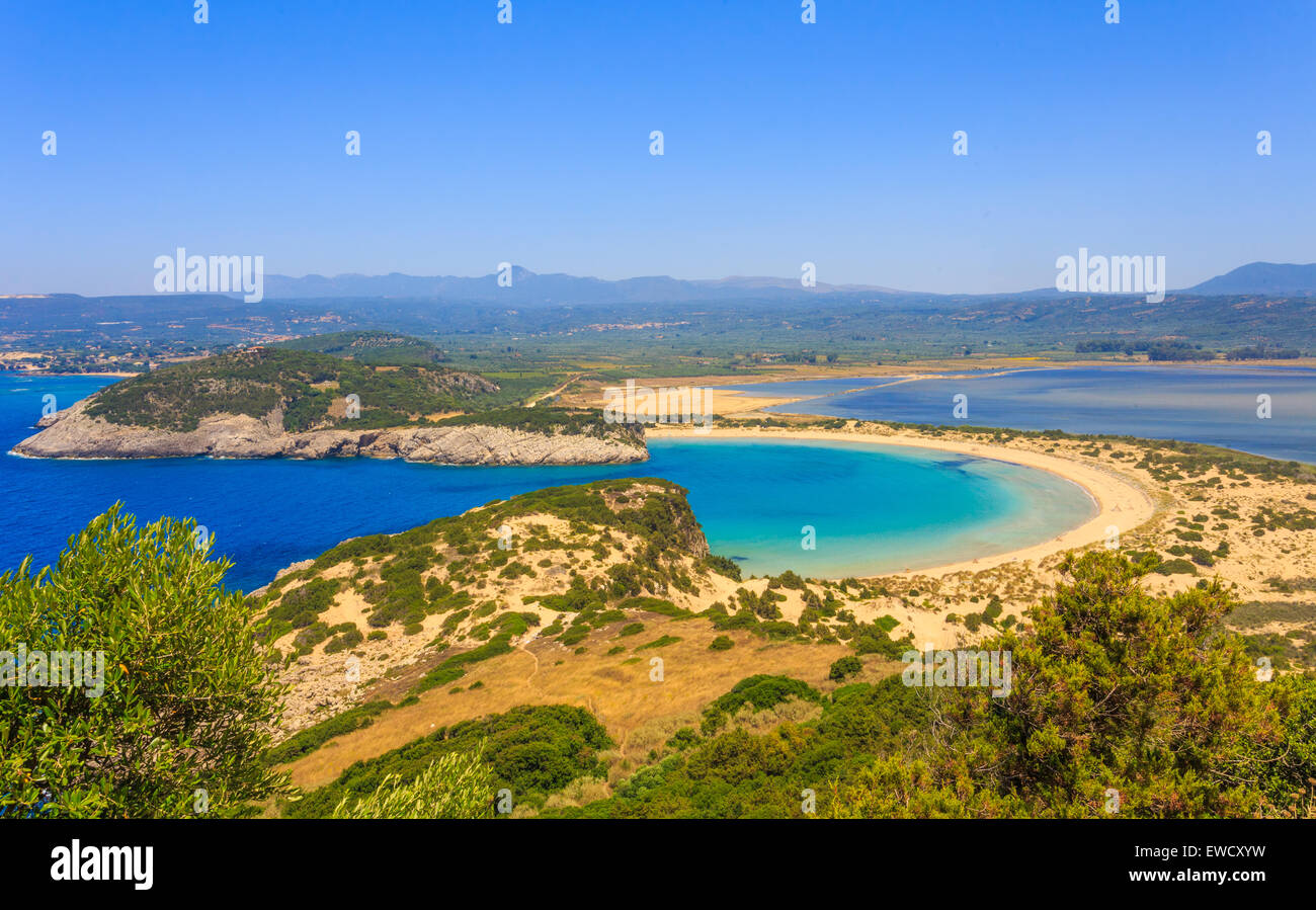 Beautiful lagoon of Voidokilia from a high point of view - Stock Image