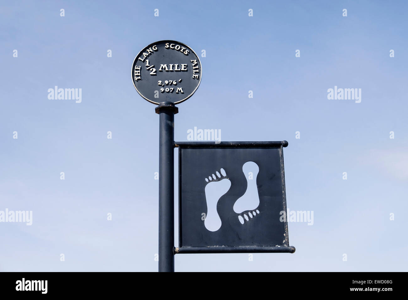 The Lang Scots Mile sign at half way point on seafront promenade in Ayr, South Ayrshire, Strathclyde, Scotland, - Stock Image