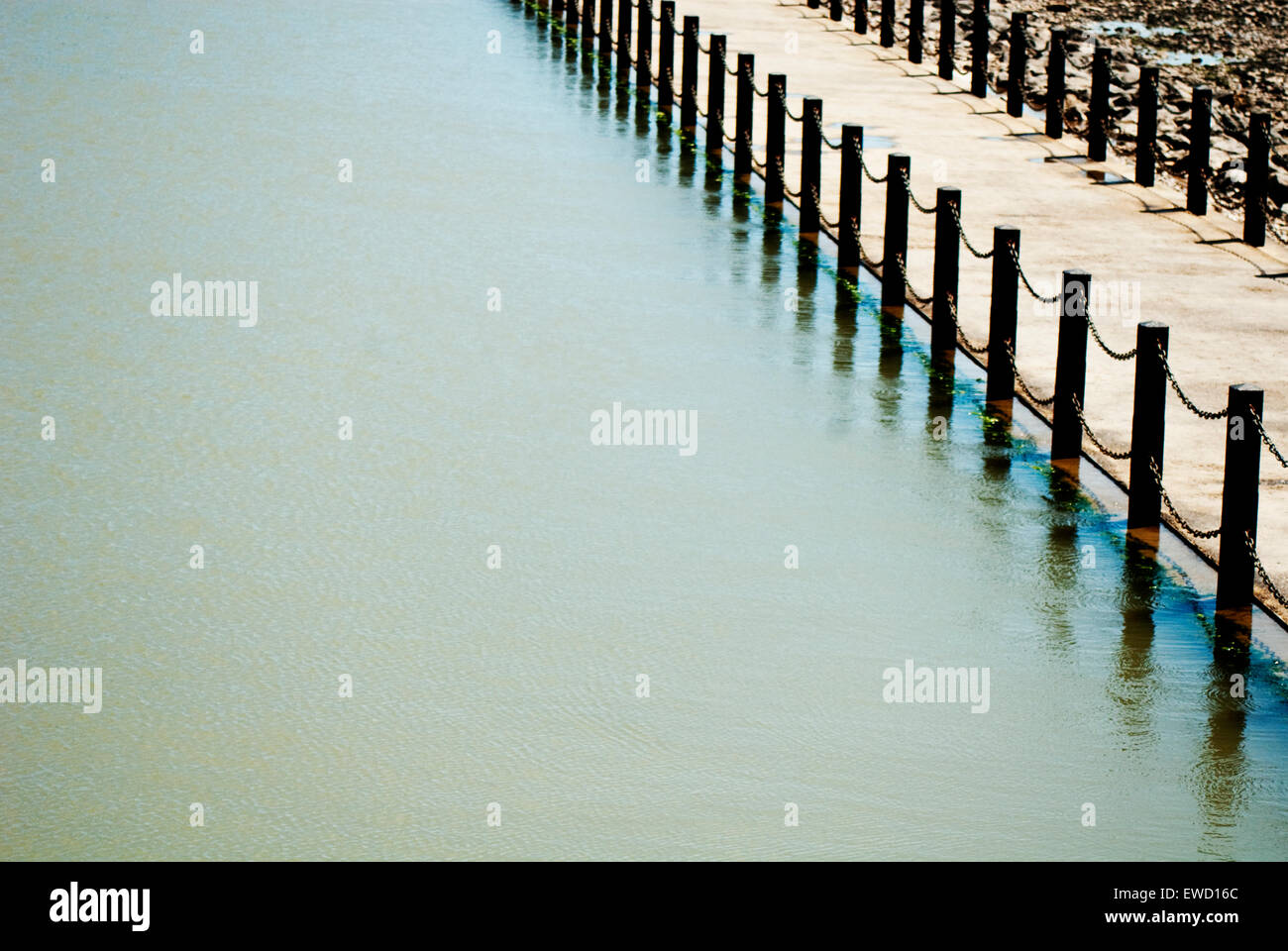Abstract image of water and walkway near to Knightstone Island in Weston Super-Mare - Stock Image