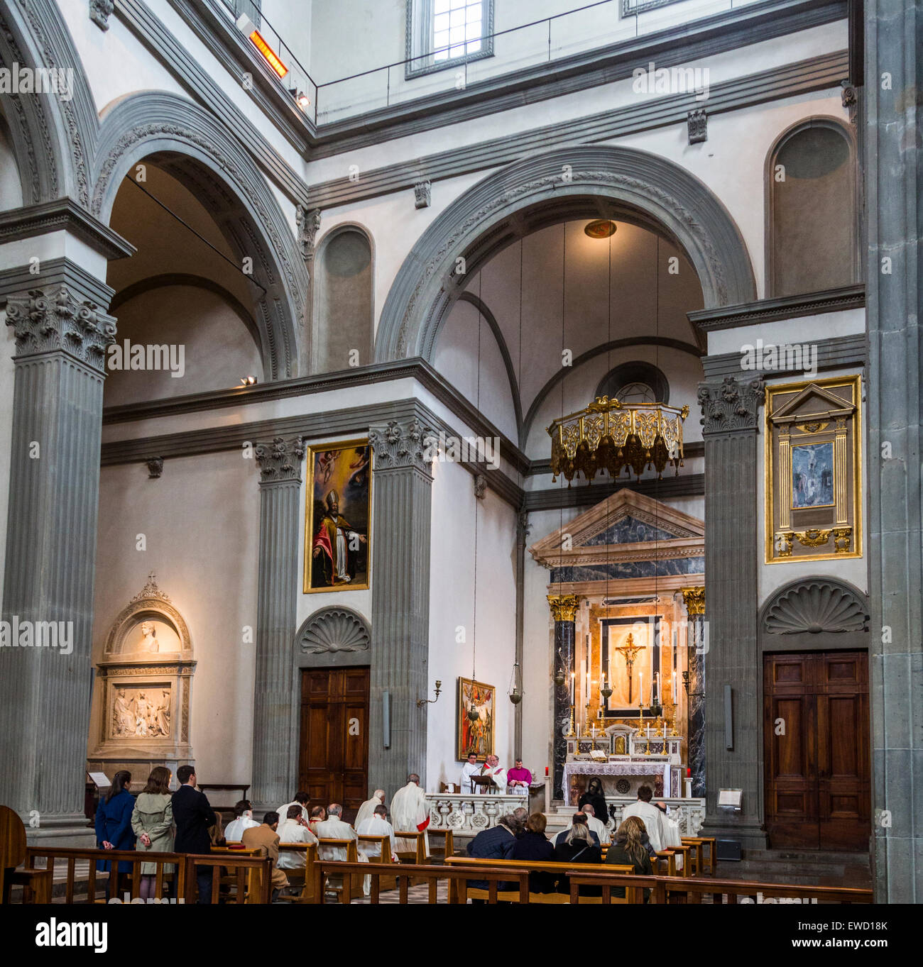 mass in side chapel, Basilica of San Lorenzo, Florence, Italy - Stock Image