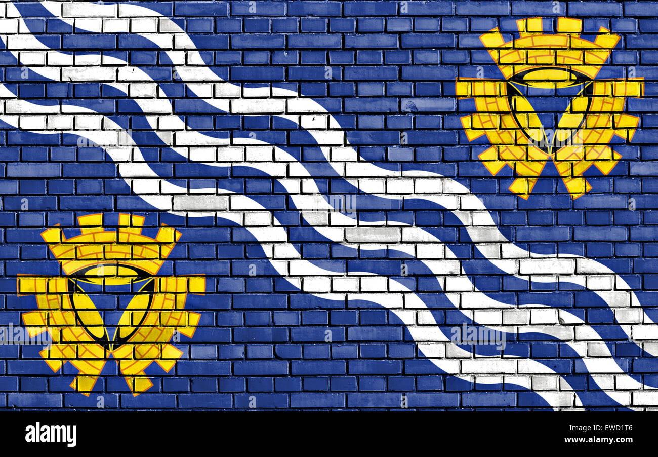flag of Merseyside painted on brick wall - Stock Image
