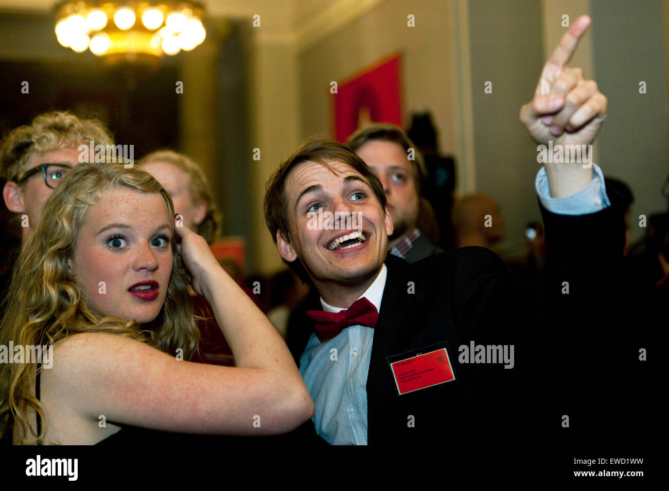 Copenhagen, Denmark, June 18th, 2015: Young Social Democratic Party members reacts enthusiastic to a regional election - Stock Image