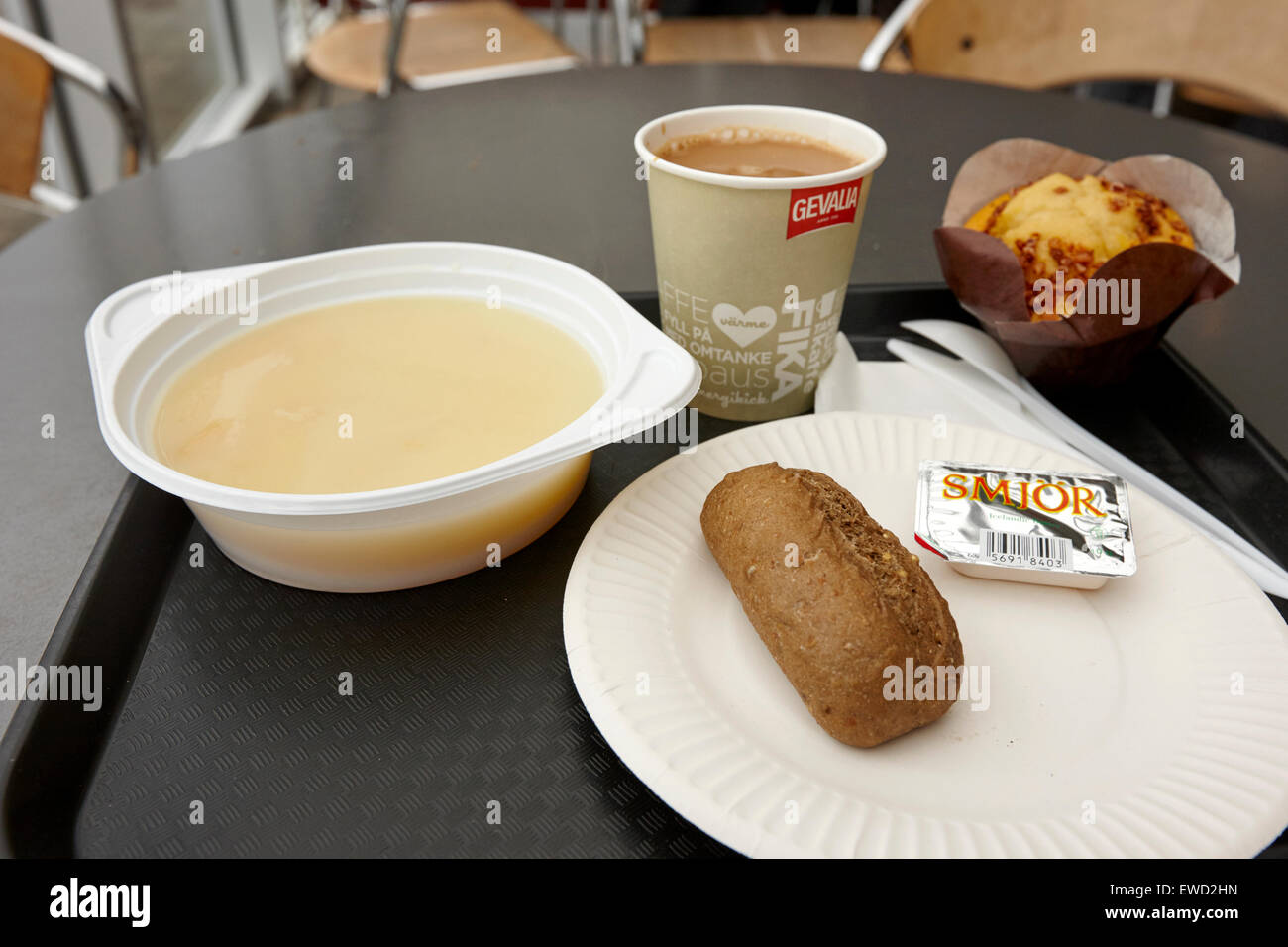icelandic soup and a roll with coffee and muffin at cafe in visitors centre Thingvellir iceland - Stock Image