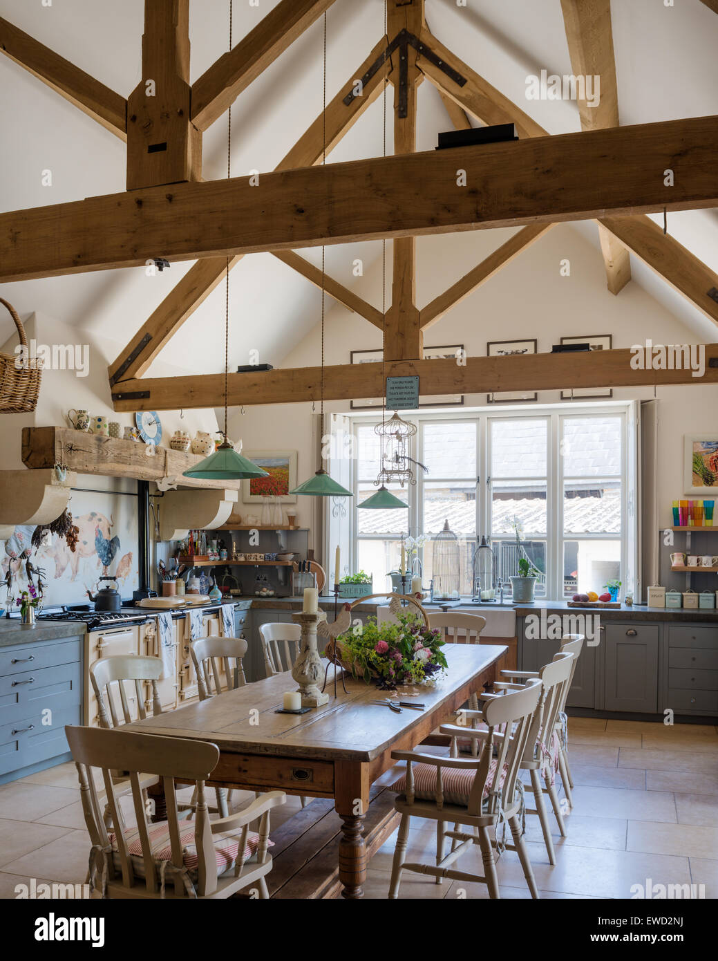 Attrayant Vintage Farmhouse Table In Rustic Kitchen With Green Pendant Lights From  Holloways Of Ludlow, Aga, And Beamed Ceiling