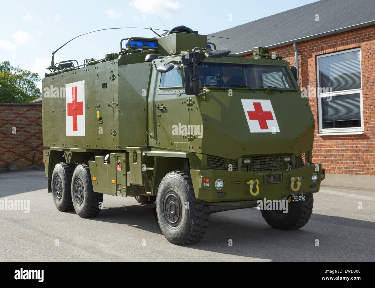 Mowag Duro protected all-terrain tactical vehicle in 6×6 configuration used as a military ambulance of the - Stock Image