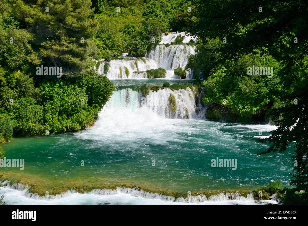 Skradinski Buk waterfalls in Krka National Park on Dalmatian Coast of Croatia - Stock Image
