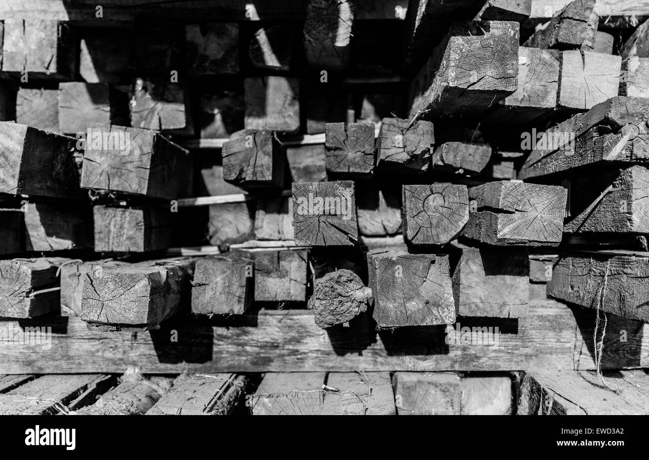 Russia Russian abstract background batten beam black and white blank brown building chunks construct construction Stock Photo