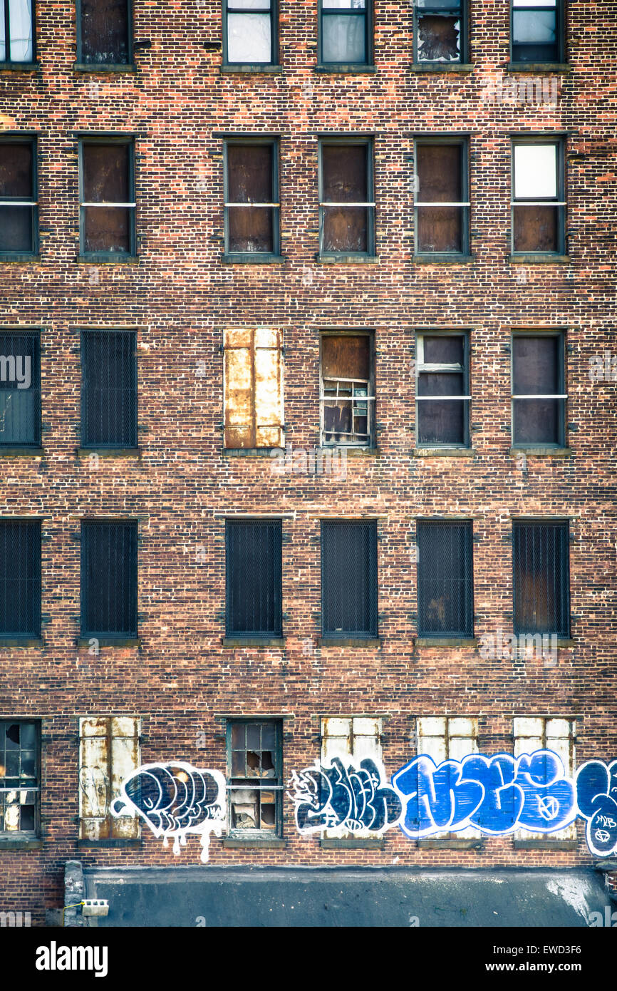 new york city march 13 2015 abandoned graffiti covered building seen from the