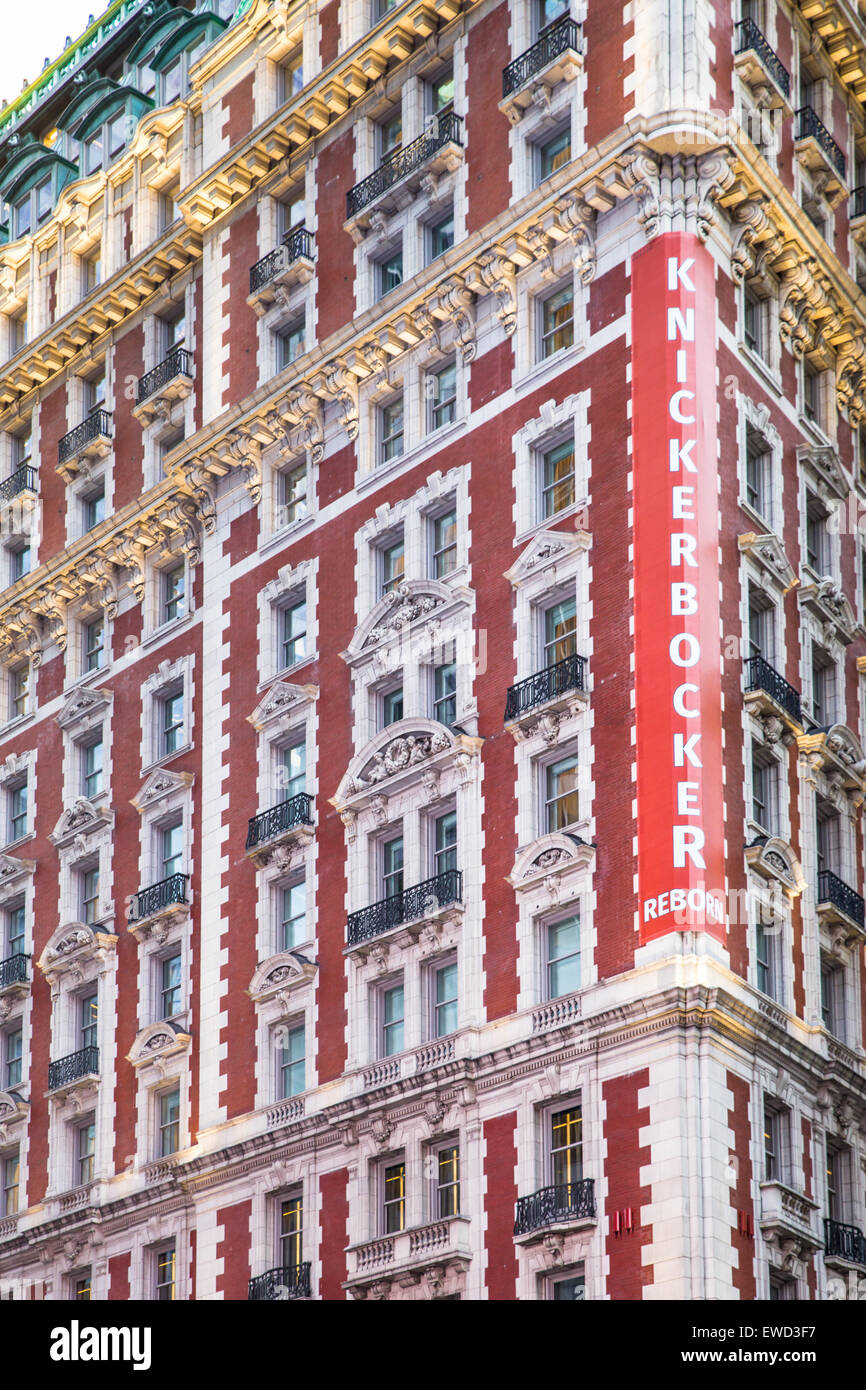 NEW YORK CITY - MARCH 23, 2015: View of historic Knickerbocker Hotel in Times Square Manhattan. Stock Photo