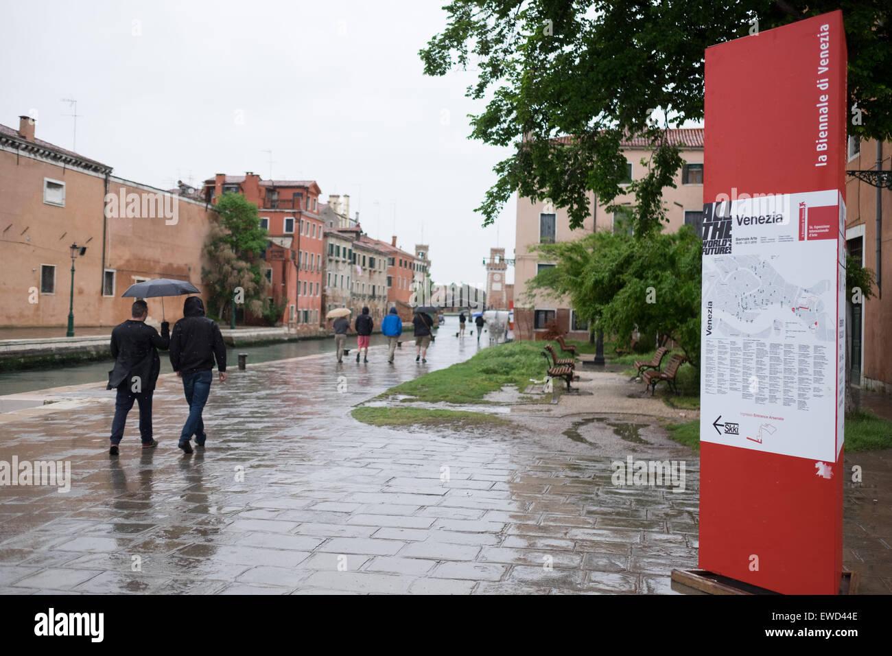2015 Venice Biennale. Entrance sign. - Stock Image