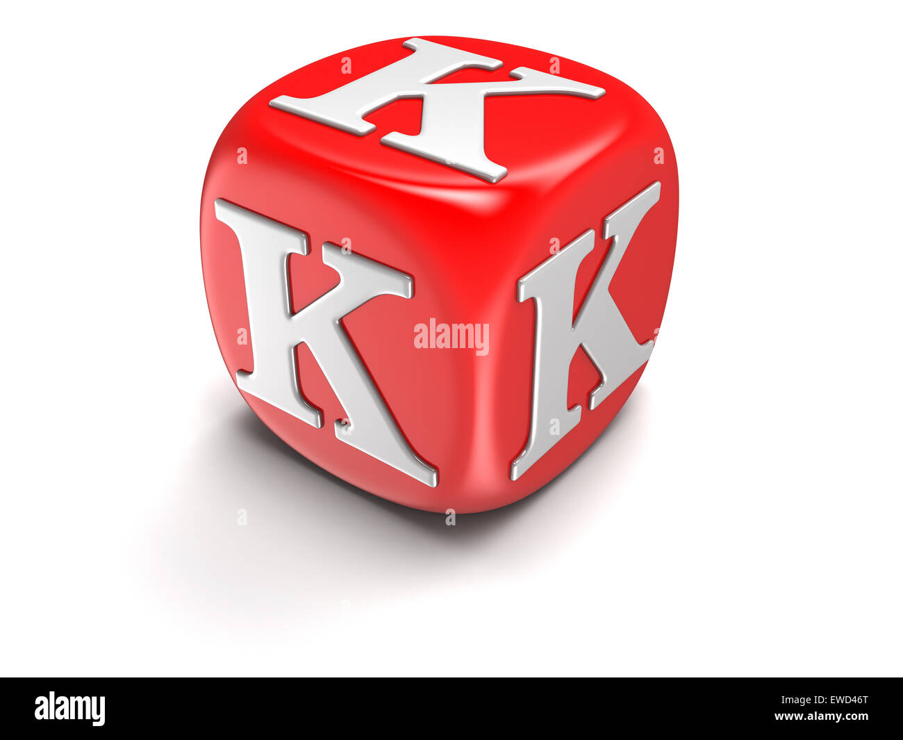 Dice with letter K (clipping path included) - Stock Image
