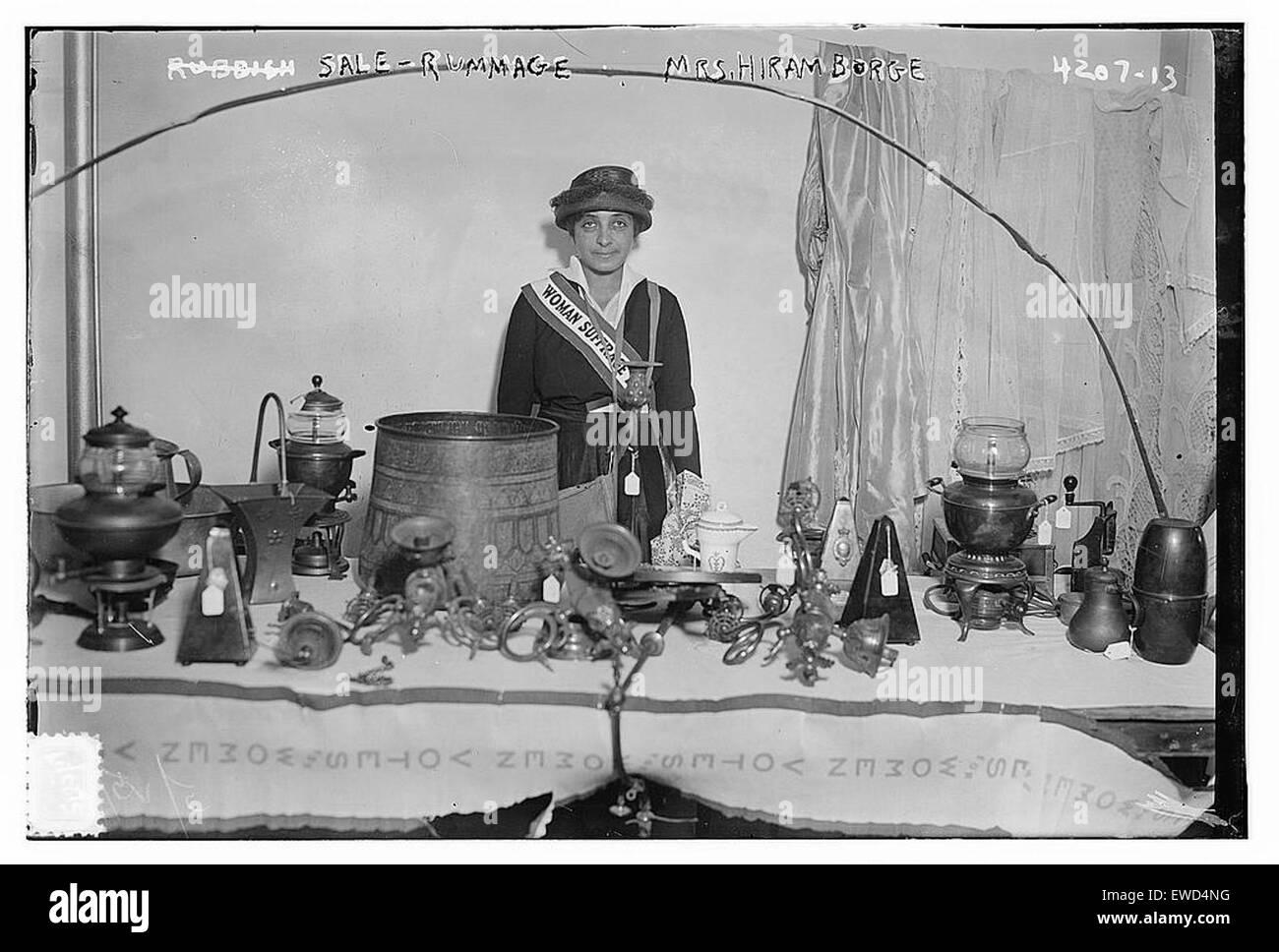 Sale -- Rummage --- Mrs Hiram Borge  [woman suff - Stock Image