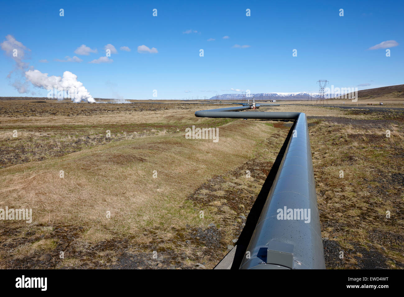 pipeline carrying hot water to reykjavik from Hellisheidi geothermal combined heat and power station hengill iceland - Stock Image