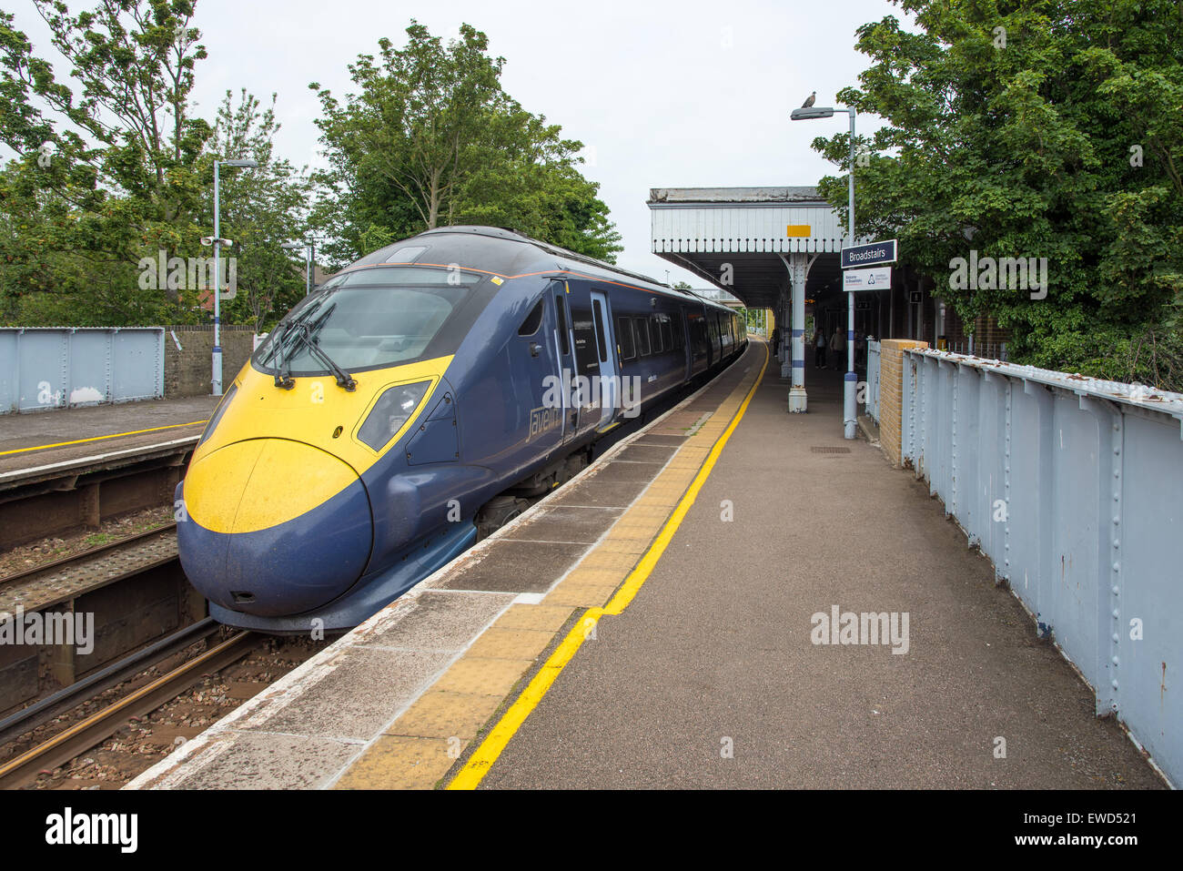 Southeastern Javelin HS1 train at on the St Pancras International to Ramsgate route at Broadstairs, Kent, UK - Stock Image